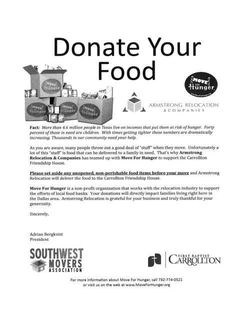 Feed The Hungry When You Move